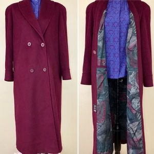 Vintage 80s Alorna Maroon Red Wool Trench Coat